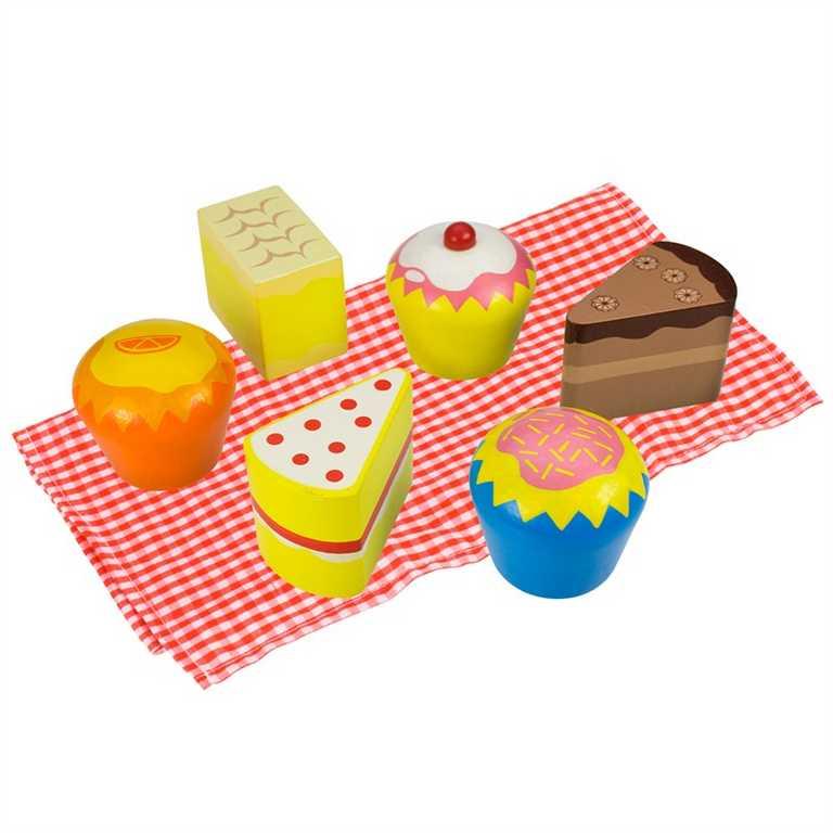 Dřevěné potraviny - 6 dortíků v dřevěné krabičce