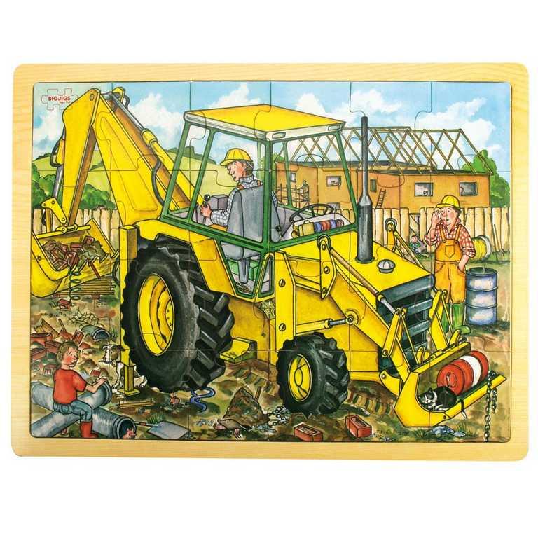Bigjigs Toys dřevěné hračky - Puzzle Bagr - 24 dílků