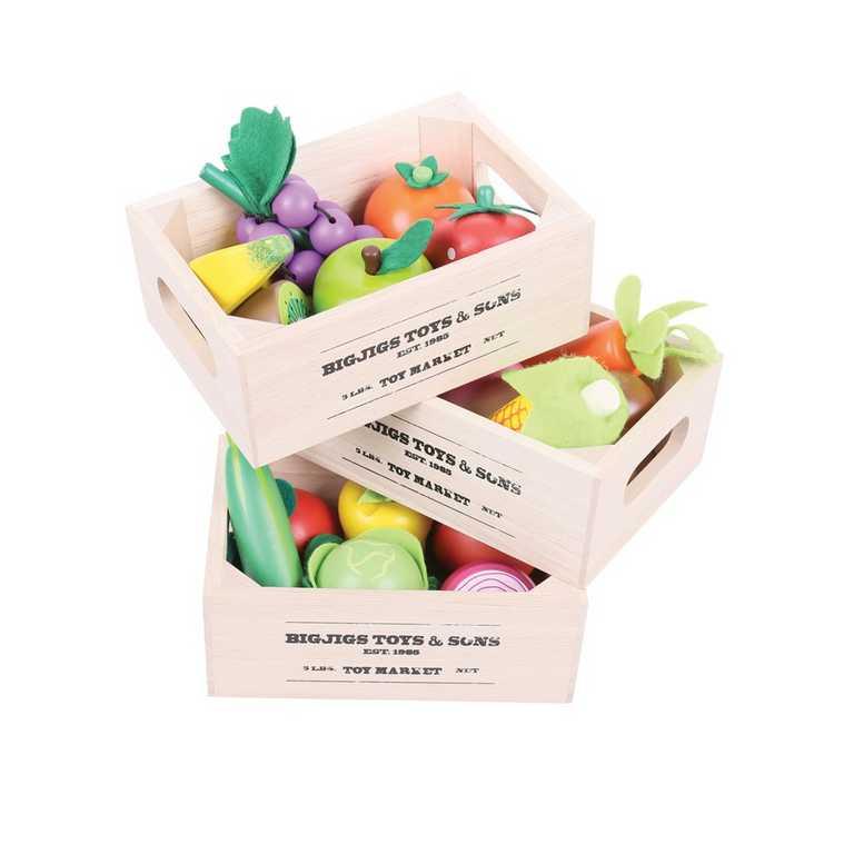 Bigjigs Toys Dřevěné potraviny - Ovoce v přepravce