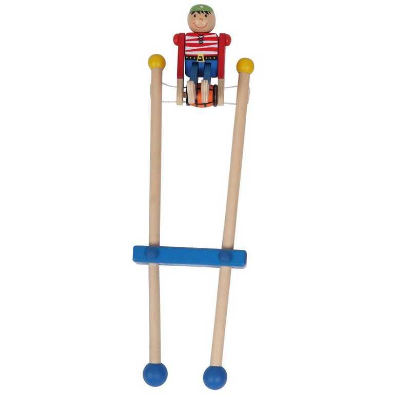 Bigjigs Dětská dřevěná hra - Pirát na hrazdě