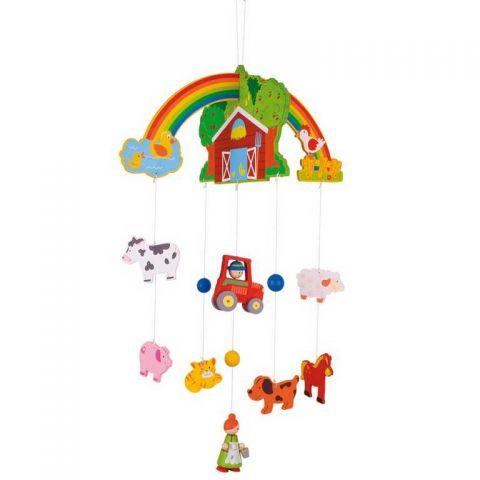 Dřevěné hračky - Závěsný kolotoč - Farma