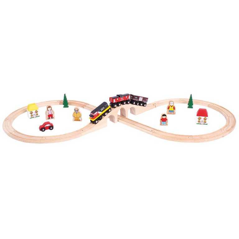 Bigjigs Rail dřevěná vláčkodráha - Osmička s CN vlakem