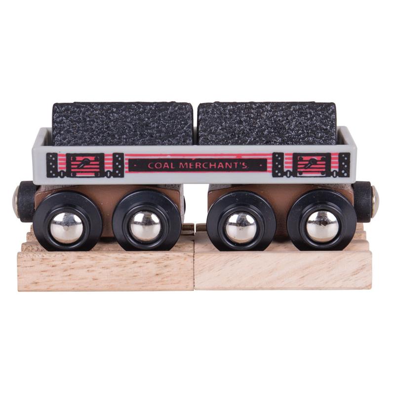 Vláčkodráha Bigjigs Rail - Dlouhý vagónek s uhlím + 2 koleje