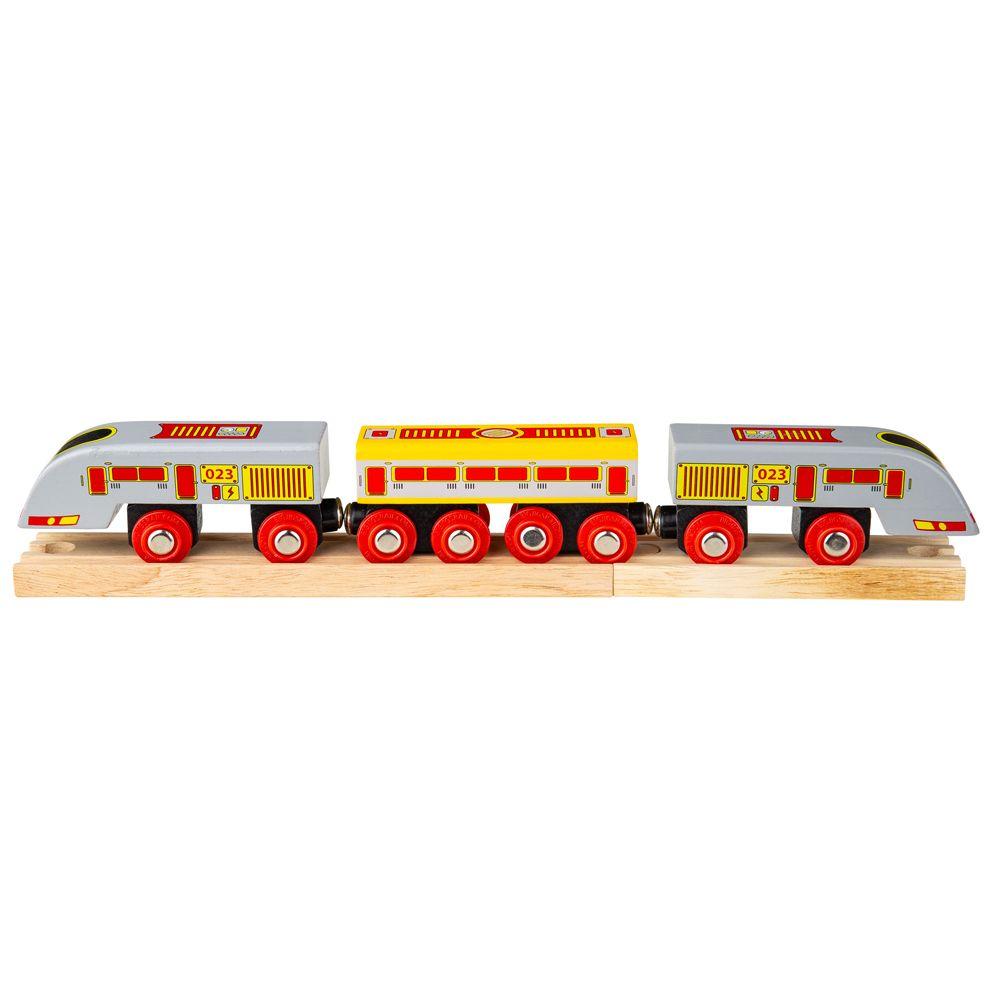Vláček Bigjigs - Osobní vlak - Rychlík Eurostar + 3 koleje