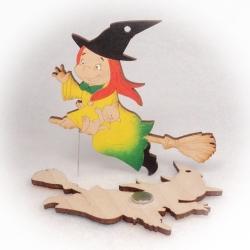 Dřevěné magnetky - Čarodějnice s kočičkou