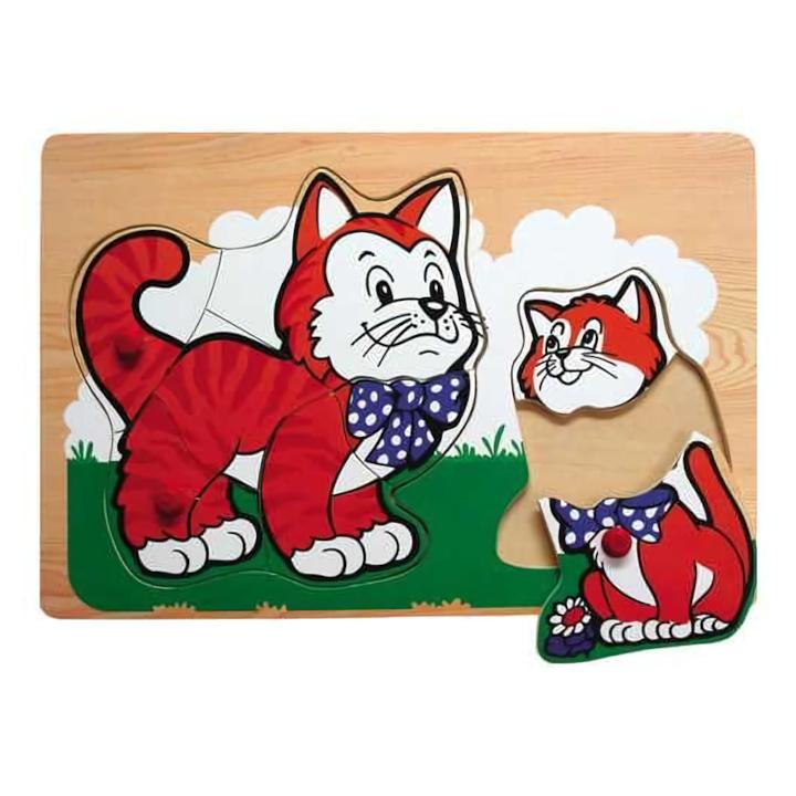 Dřevěné hračky - Vkládací puzzle - Vkládačka - Kočky