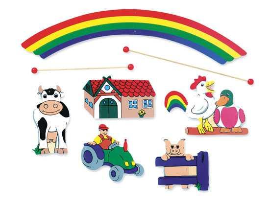 Dřevěné hračky - Závěsný kolotoč - statek