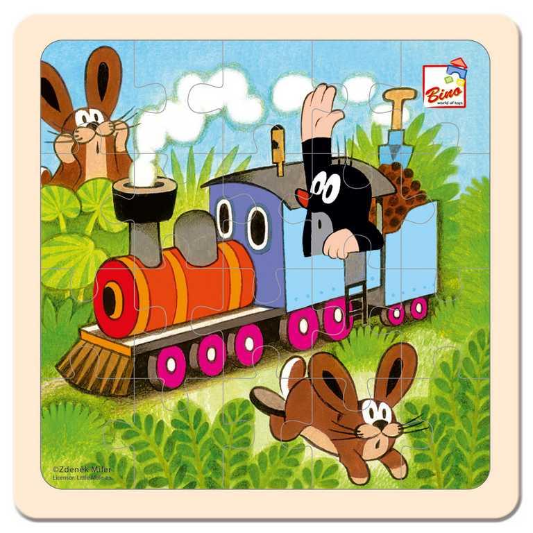 Dřevěné hračky -  Skládanka - Krtek a mašinka