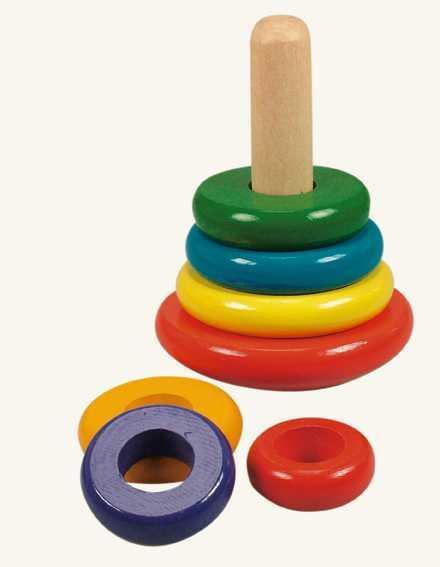 Dřevěné hračky - Skládací pyramida barevná - káča