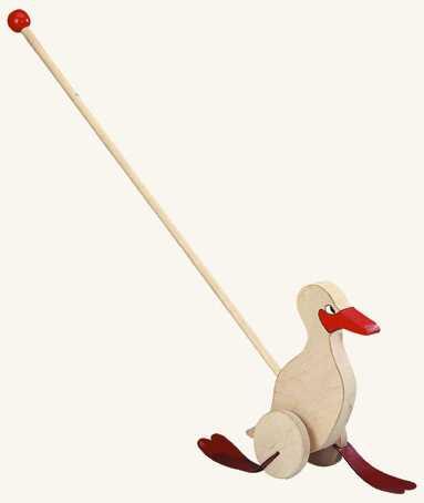 Dřevěné hračky - Kachna na tyči - natur / červená