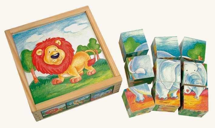 Bino Drevené obrázkové kocky - Divoké zvieratá 9 ks