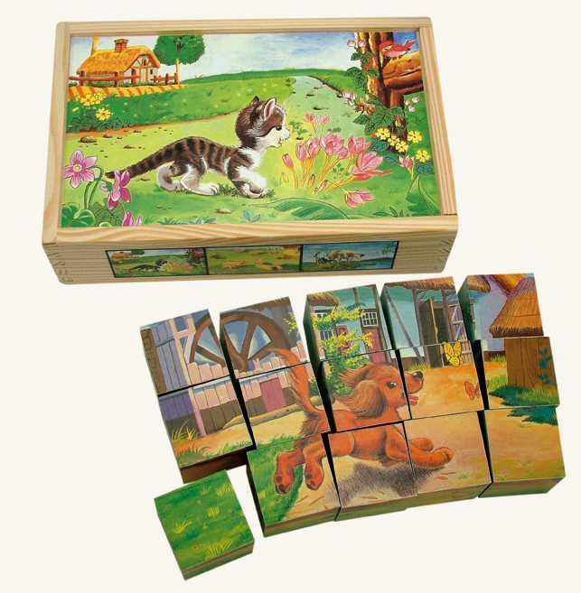 Bino Drevené obrázkové kocky - domáce zvieratá, 15 ks