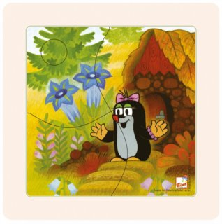 Dřevěné puzzle paní Krtečková 4 dílky
