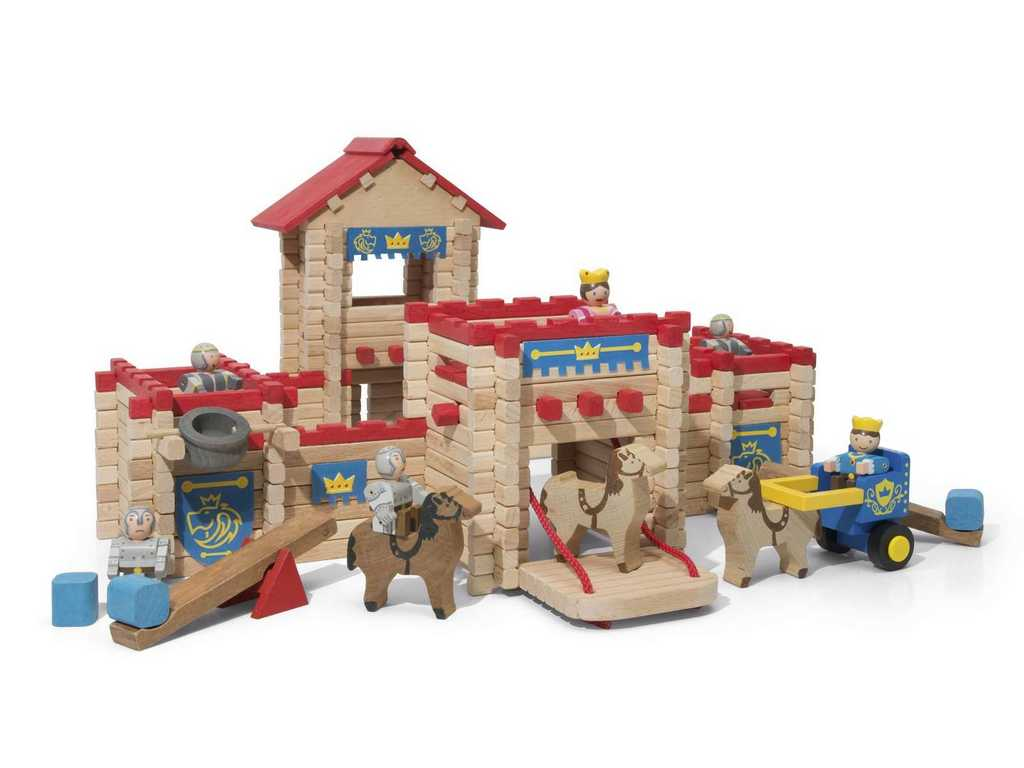 Jeujura Drevená stavebnica 300 dielov hrad