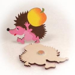 Dřevěné magnetky - Ježek s jablkem