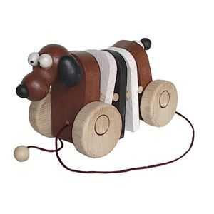 Dřevěné tahací hračky - Klapací pejsek