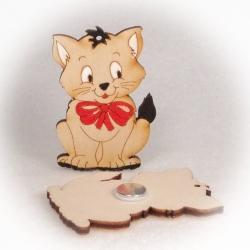 Dřevěné magnetky - Kočka s mašlí