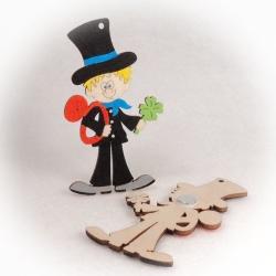 Dřevěné magnetky - Kominíček se čtyřlístkem