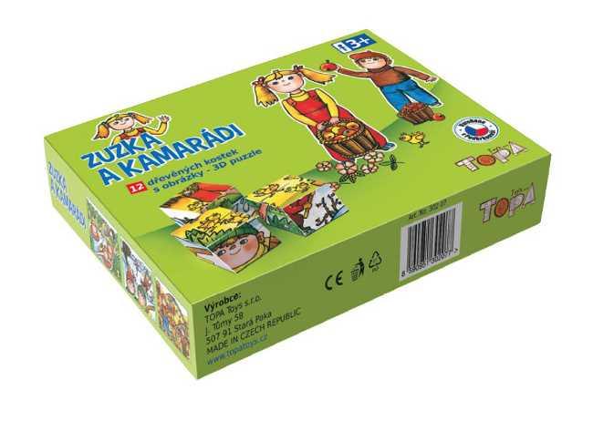 Dřevěné obrázkové kostky kubusy - Zuzka a kamarádi - 12 ks
