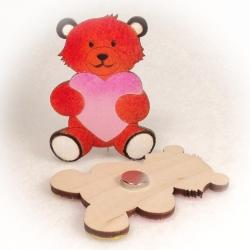 Dřevěné magnetky - Medvídek se srdcem