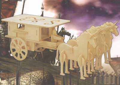 Dřevěné skládačky 3D puzzle nábytek a ostatní - Povoz GP096