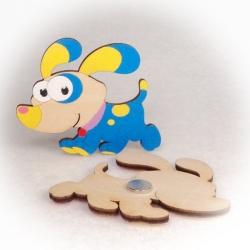Dřevěné magnetky - Pes s velkýma ušima