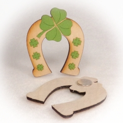 Dřevěné magnetky - Podkova čtyřlístek