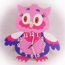 Dřevěné hodiny Sovička růžová