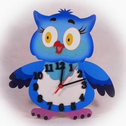 Dřevěné hodiny Sovička modrá