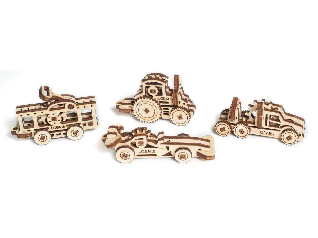Ugears Drevená stavebnica 3D mechanické Puzzle U-fidget vozidlá