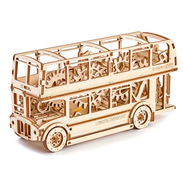 Wooden City 3D mechanické puzzle - Londýnsky autobus Double Decker